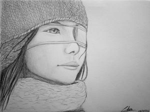 """Drawing """"Half Blind"""" by Amayumi"""